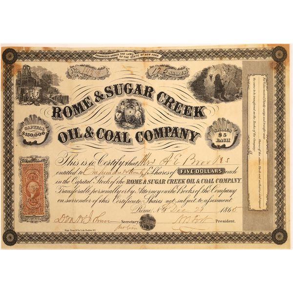 Rome & Sugar Creek Oil & Coal Company Stock, 1865  [130531]