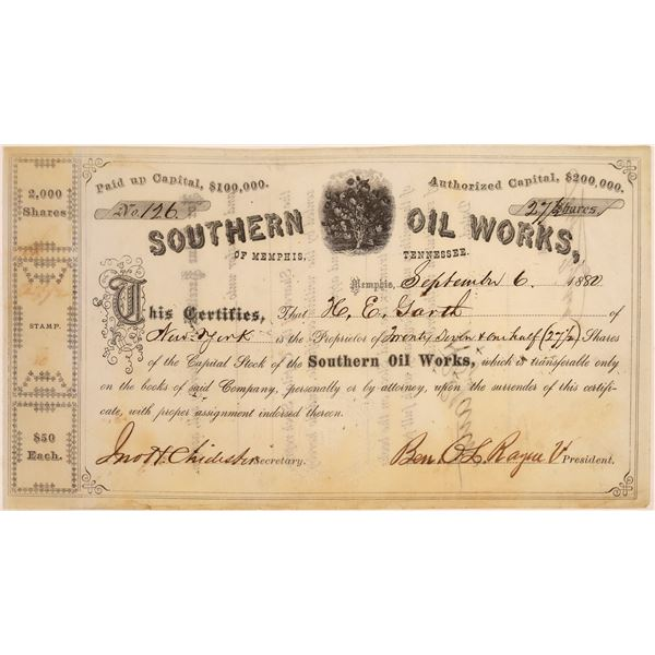 Southern Oil Works of Memphis, Tennessee Stock, 1880  [130528]