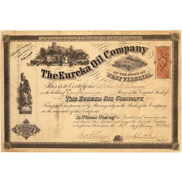 Eureka Oil Company of the State of West Virginia Stock, 1865  [130530]