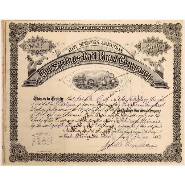 Hot Springs Rail Road Company Stock, 1883  [130584]
