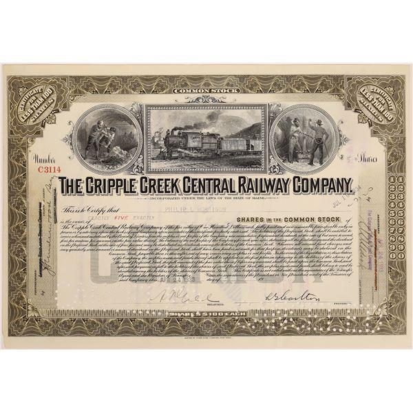 Cripple Creek Central Railway Company Stock, 1933 [130583]
