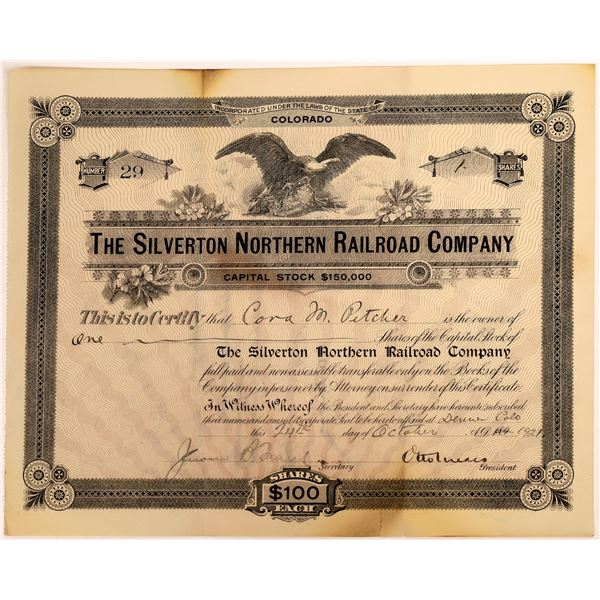 Silverton Northern Railroad Co. Stock Signed by Otto Mears  [138051]