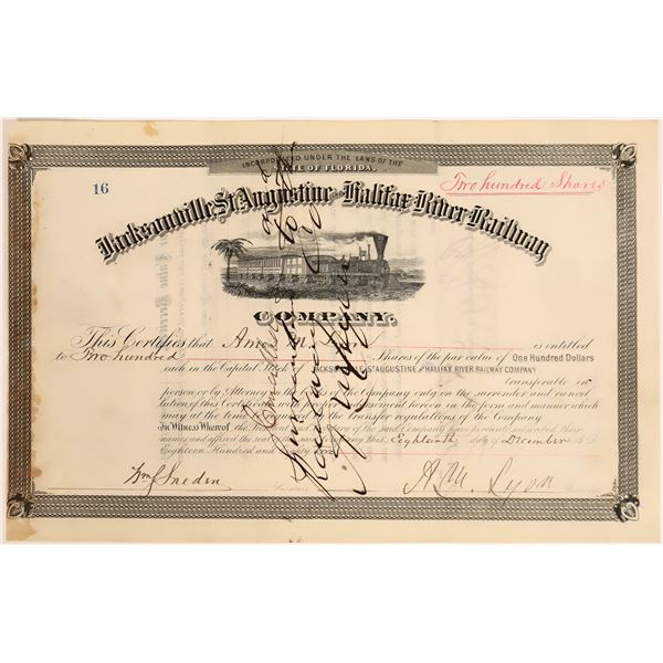 Jacksonville, St. Augustine and Halifax River Railway Stock, 1882  [130579]