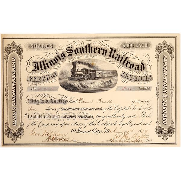 Illinois Southern Railroad Stock, 1859  [130582]