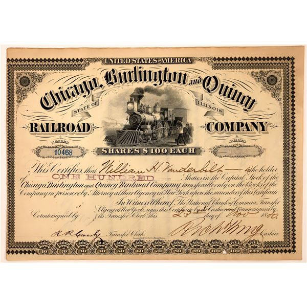 Chicago, Burlington and Quincy Railroad Stock signed by William Vanderbilt  [130238]