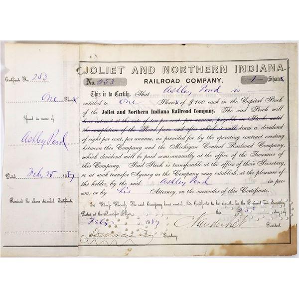 Joliet & Northern Indiana Railroad Stock Signed by Cornelius Vanderbilt II  [118649]