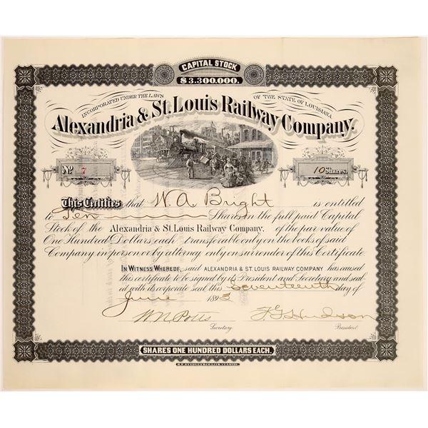 Alexandria & St. Louis Railway Company Stock, 1893  [130577]