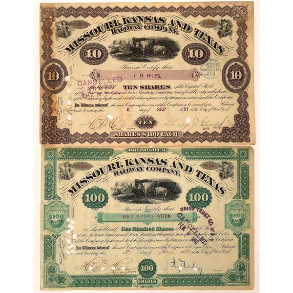 Missouri, Kansas & Texas Railway Co. Stocks, One Signed by Jay Gould  [130240]