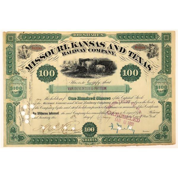 Missouri, Kansas & Texas Railway Co. Stock Signed by Jay Gould  [130241]