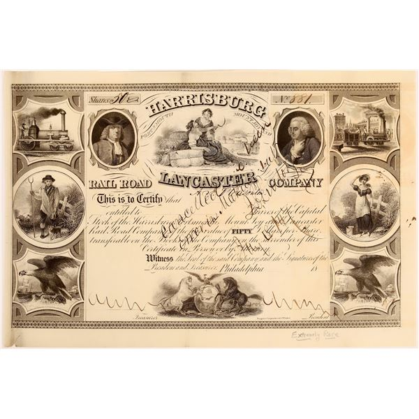 Harrisburg, Portsmouth, Mountjoy & Lancaster Rail-Road Stock, 1840's  [130578]