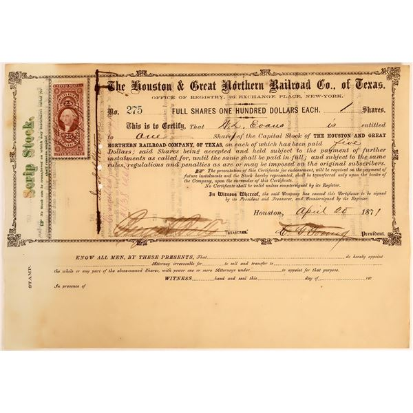 Houston & Great Northern Railroad Co. of Texas Scrip Stock, 1871  [130581]