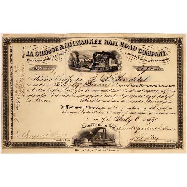 La Crosse & Milwaukee Rail Road Company Stock, 1857  [130572]