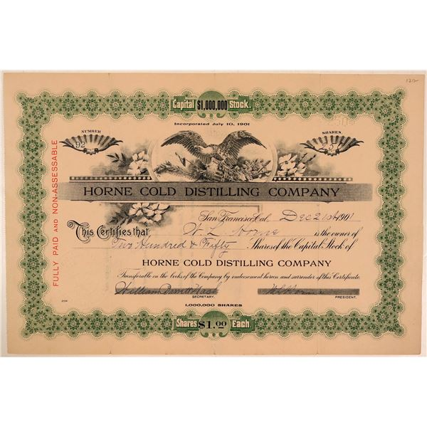 Horne Cold Distilling Company Stock Certificate  [107785]