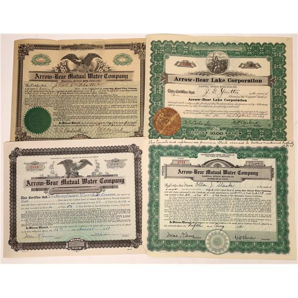 Arrowhead/Big Bear Lake Stock Certificates  [138479]
