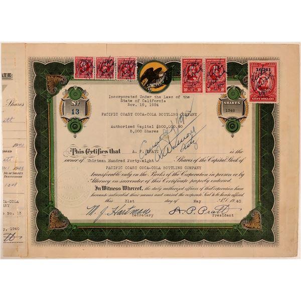 Pacific Coast Coca-Cola Bottling Company Stock Certificate  [107783]