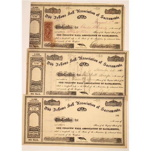 Odd Fellows Hall Association of Sacramento Stock Certificates  [138523]