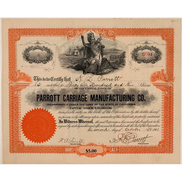 Parrott Carriage Manufacturing Co. Stock Certificate  [107759]