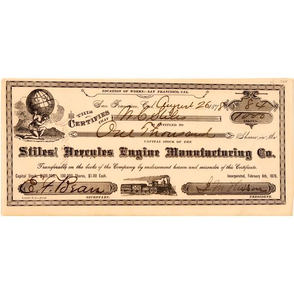 Stiles' Hercules Engine Manufacturing Company Stock Certificate  [107786]