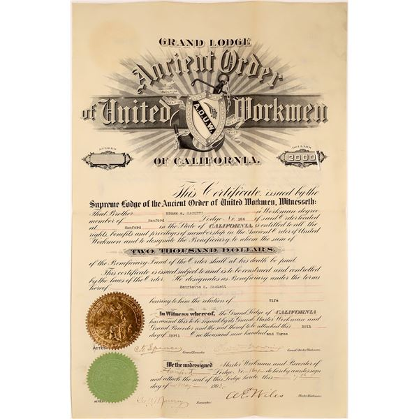 Ancient Order of United Workmen of California, $2,000 Bond  [138588]