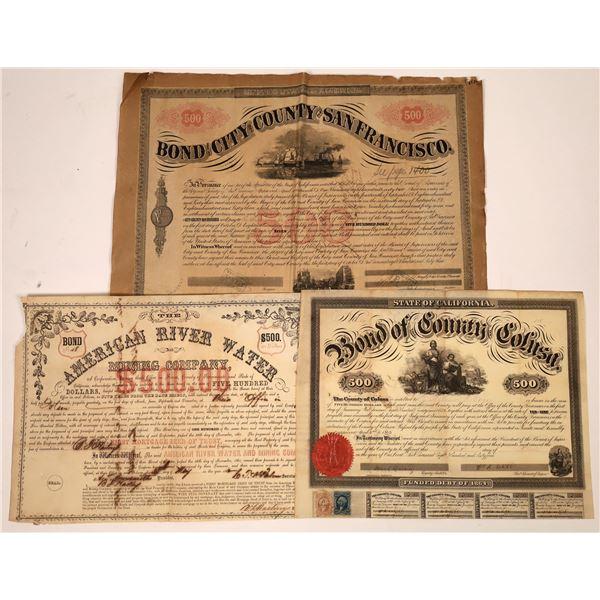 Three Early 1860s California Bonds [138506]