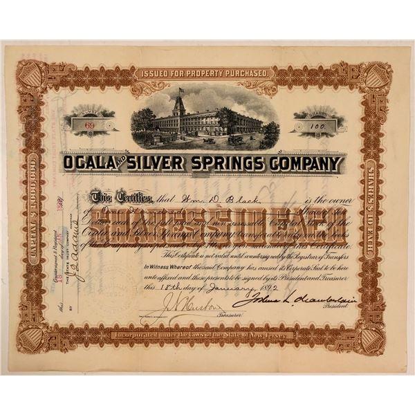 Ocala & Silver Springs Co. Stock Signed by Gettysburg Hero Joshua Chamberlain  [107763]