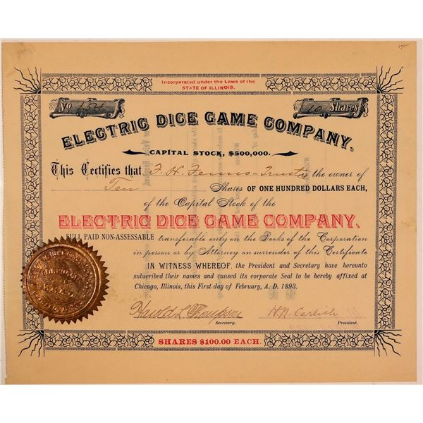 Electric Dice Game Company Stock Certificate  [107784]