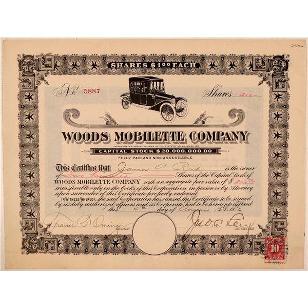 Woods Mobilette Company Stock Certificate  [107782]