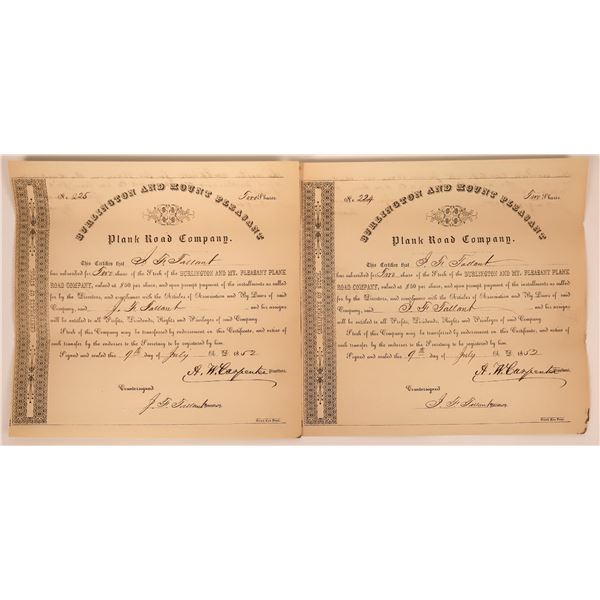 Two consecutive numbered Burlington and Mount Pleasant Plank Road Certificates  [130258]