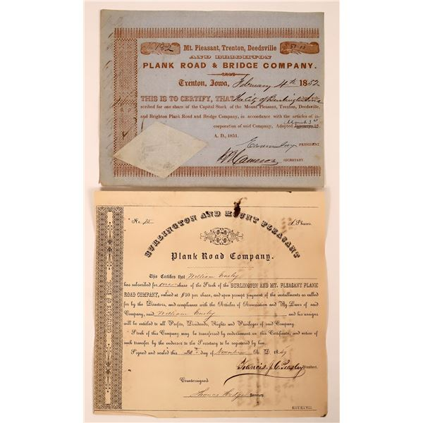 Two pre-Civil War Plank Road Stock Certificates  [130253]