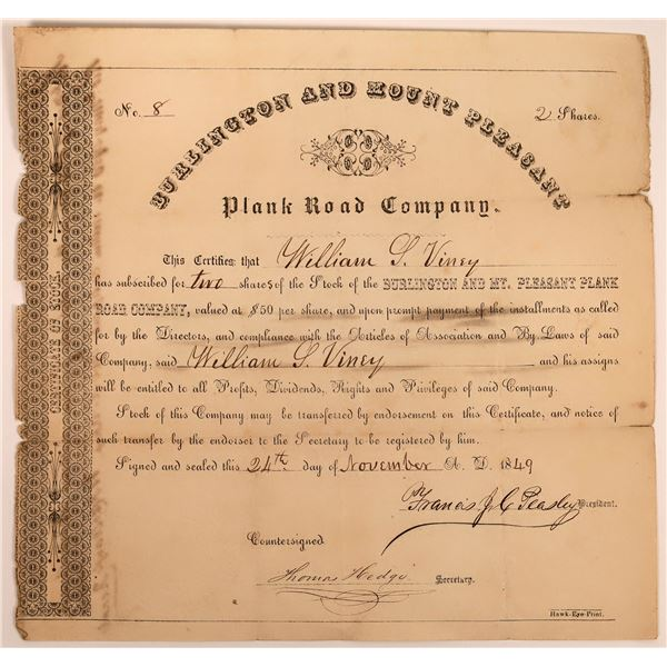 Very Early Burlington and Mount Pleasant Plank Road Certificate  [130259]