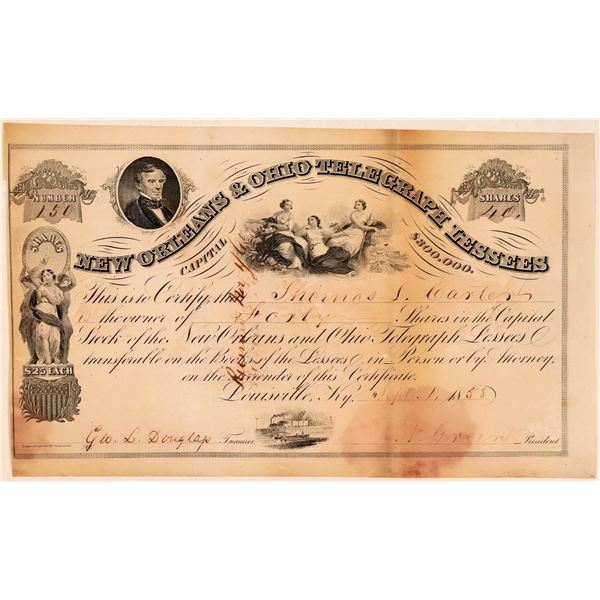 New Orleans & Ohio Telegraph Lessees Stock Certificate  [107772]