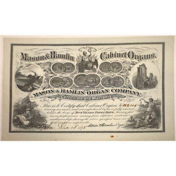 Mason & Hamlin Cabinet Organs Fancy Warranty Certificate, Boston, 1878  [131081]