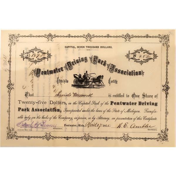 Pentwater Driving Park Association Stock, Early Horse Racing, Michigan, 1875  [128816]