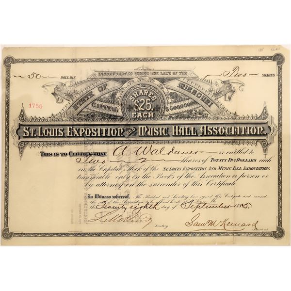 St. Louis Exposition and Music Hall Association Stock Certificate, 1885  [128828]