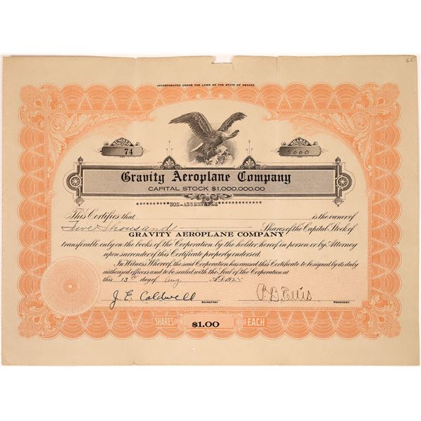 Gravity Aeroplane Company Stock Certificate  [138454]