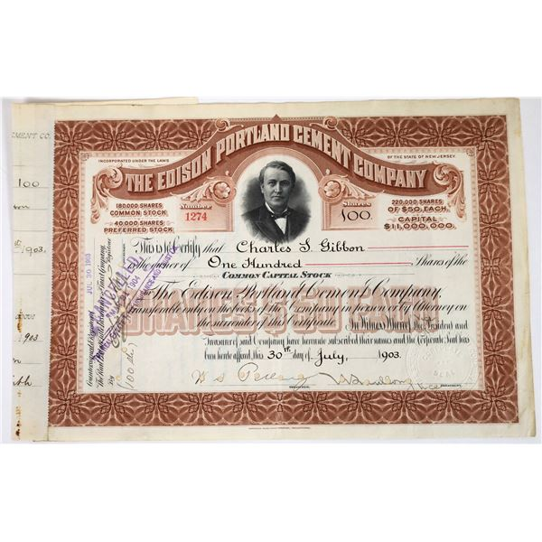 Edison Portland Cement Company Stock Certificate   [118624]