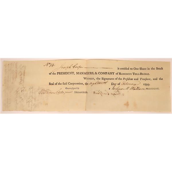 Rancocus Toll-Bridge Company Stock- 1793  [130261]