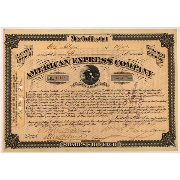American Express Stock Certificates, Type 8, Signed by William Fargo  [130270]