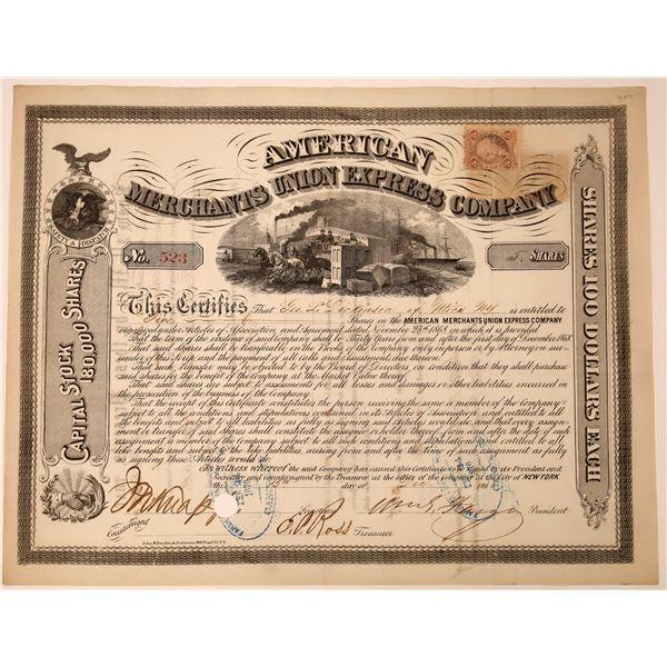 American Merchants Union Express Co. Stock Certificate Signed by Fargo (Type 1)  [130271]