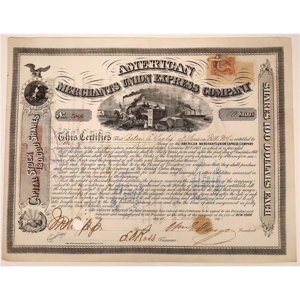 American Merchants Union Express Co. Stock Certificate Signed by Fargo (Type 2)