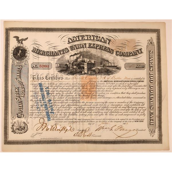 American Merchants Union Express Co. Stock Signed by Fargo, Revenue Imprinted  [130274]