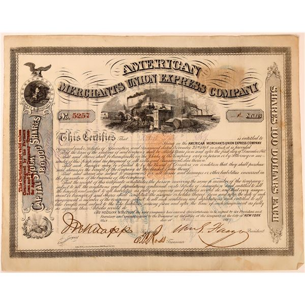 American Merchants Union Express Co. Stock Signed by Fargo, Revenue Imprinted  [130275]