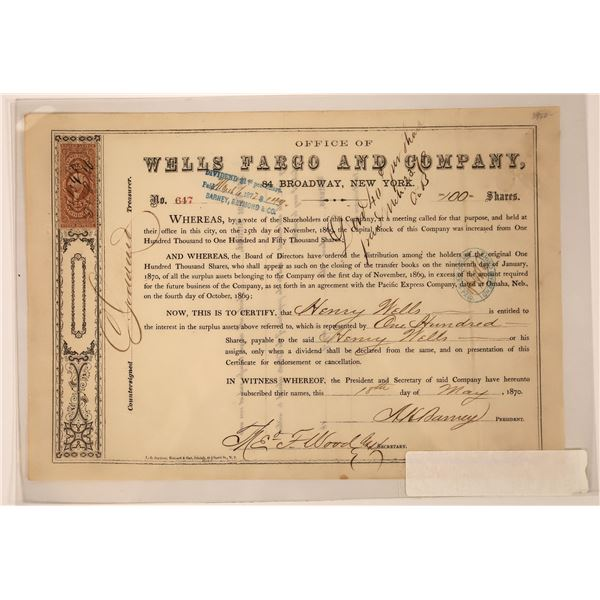 Wells Fargo company, Omaha Treaty Stock Certificate, 1870 issued to Wells  [130268]