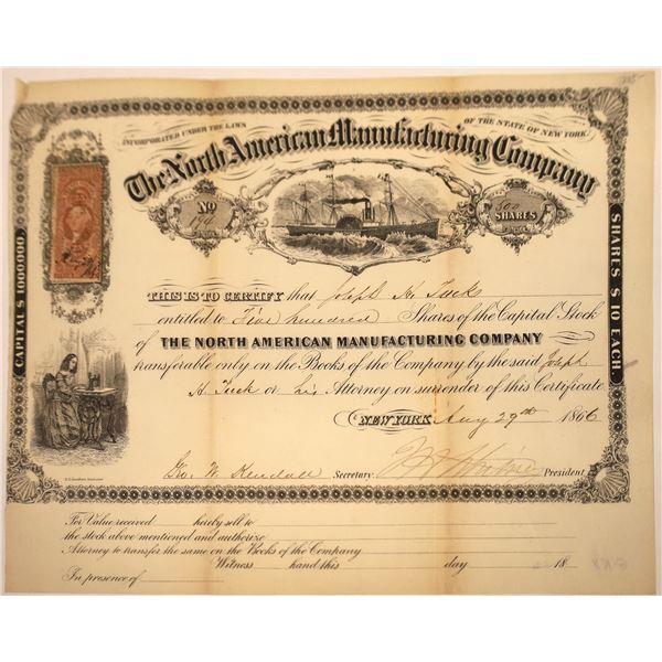 North Americana Mfg. Company of New York Stock w. Sidewheel Steamer Vignette, 1866  [131083]