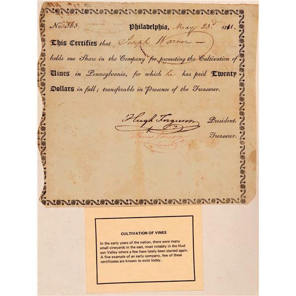 1811 Pennsylvania Wine Stock Certificate  [107804]