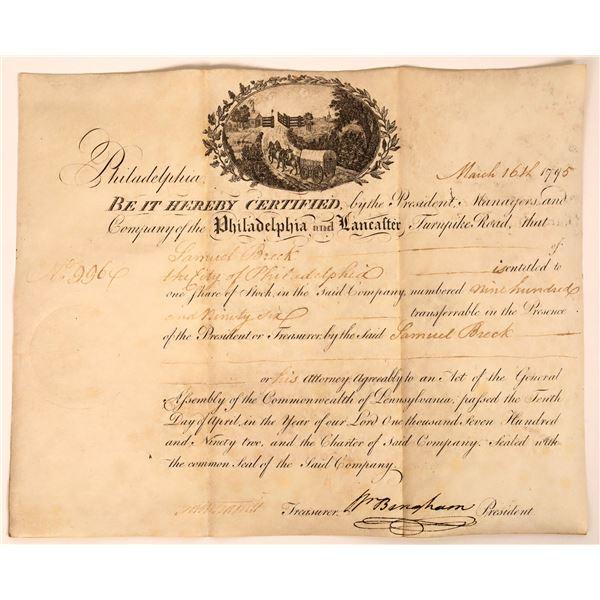 Philadelphia and Lancaster Turnpike Stock Certificate Issued to Samuel Breck of Philadelphia  [13024