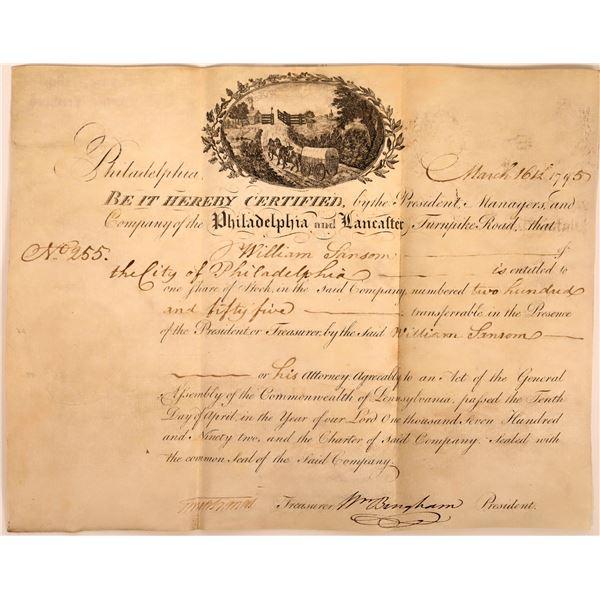 Philadelphia and Lancaster Turnpike Stock Certificate Issued to William Larsen of Philadelphia  [130