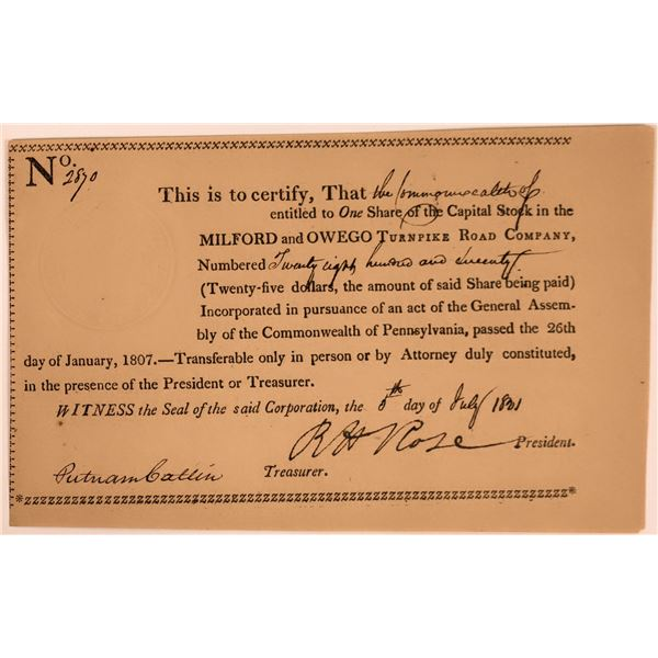 Milford & Oswego Turnpike Road Certificate - 1801  [130260]