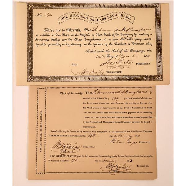 Two different Susquehanna Bridge Certificates: 1814, 1818  [130257]
