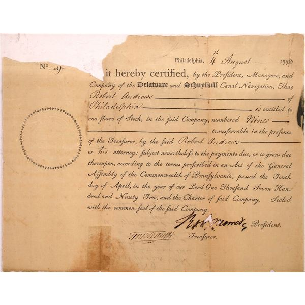 Very Early Delaware and Schuylkill Canal Navigation Stock w/ Robert Morris Auto, Signer of Declarati